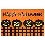 Nature by Geo Crafts Pumpkin Fence Halloween 18-Inch x 30-Inch Multicolor Door Mat