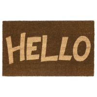 Fab Habitat Block Letter Hello 18-Inch x 30-Inch Door Mat in Tan