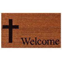 Home & More Cross Welcome 17-Inch x 29-Inch Door Mat in Natural/Black
