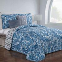 Avondale Manor Dominica Queen Reversible Quilt Set in Blue