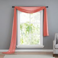 VCNY home Infinity Sheer Rod Pocket Window Scarf Valance in Coral