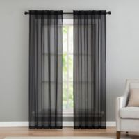 VCNY home Infinity Sheer Rod Pocket 63-Inch Window Curtain Panel in Black