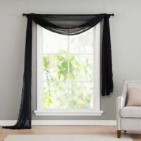 VCNY home Infinity Sheer Rod Pocket Window Scarf Valance in Black