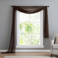 VCNY home Infinity Sheer Rod Pocket Window Scarf Valance in Chocolate