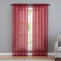 VCNY home Infinity Sheer Rod Pocket 84-Inch Window Curtain Panel in Red