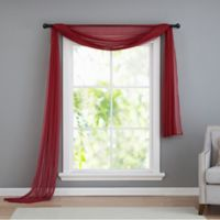 VCNY home Infinity Sheer Rod Pocket Window Scarf Valance in Red