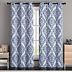 VCNY Home London Damask 84-Inch Grommet Top Room Darkening Window Curtain Panel Pair in Blue