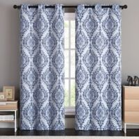 VCNY Home London Damask 96-Inch Grommet Top Room Darkening Window Curtain Panel Pair in Blue