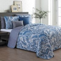 Seville Reversible Queen Quilt Set in Blue