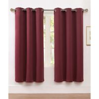 VCNY Home McKenzie Twill 63-Inch Grommet Top Room Darkening Window Curtain Panel in Burgundy