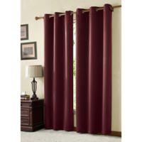 VCNY Home McKenzie Twill 84-Inch Grommet Top Room Darkening Window Curtain Panel in Burgundy