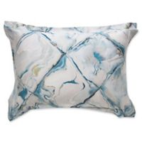 Frette At Home Blue Marble King Pillow Sham in Turquoise