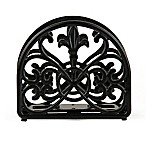 Home Basics Fleur de Lis Cast Iron Napkin Holder in Black