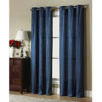 VCNY Home Jericho Juvi Crushed Taffeta 84-Inch Grommet Top Window Curtain Panel in Navy