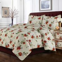 Tribeca Living Madrid Floral Twin Duvet Cover Set
