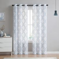VCNY home Charlotte Emroidery 84-Inch Grommet Top Sheer Window Curtain Panel Pair in Stone Blue