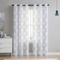 VCNY home Charlotte Emroidery 84-Inch Grommet Top Sheer Window Curtain Panel Pair in Light Grey