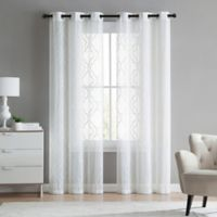 VCNY home Charlotte Emroidery 96-Inch Grommet Top Sheer Window Curtain Panel Pair in White