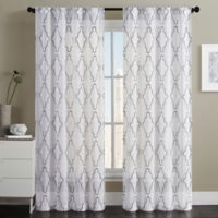 VCNY Home Dixon Embroidered Sheer 84-Inch Grommet Top Window Curtain Panel Pair in Indigo