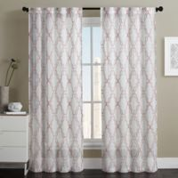 VCNY Home Dixon Embroidered Sheer 84-Inch Grommet Top Window Curtain Panel Pair in Coral