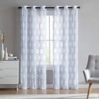 VCNY home Empire Sheer 84-Inch Grommet Top Window Curtain Panel Pair in Slate Blue
