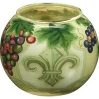 Ne'Qwa Fleur De Lis Glass Candle Holder in Green
