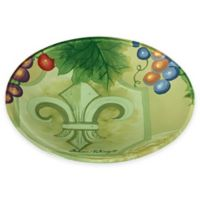 Ne'Qwa Fleur De Lis Glass Plate in Green