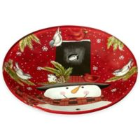 Ne'Qwa Snowman Glass Plate in Red