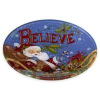 """Ne'Qwa """"Believe"""" Santa Glass Plate in Blue"""