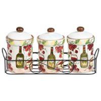 Lorren Home Trends 3-Piece Purple Grape Spice Jar Set with Caddy
