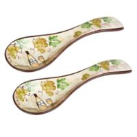 Lorren Home Trends White Grape Spoon Rests (Set of 2)