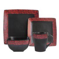 American Atelier Rowen 16-Piece Dinnerware Set in Black/Red