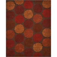 Nourison Contours Multicolor Pinwheel 3-Foot 6-Inch x 5-Foot 6-Inch Area Rug in Chocolate