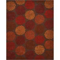 Nourison Contours Multicolor Pinwheel 5-Foot x 7-Foot 6-Inch Room Rug in Chocolate