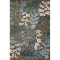 Nourison Contours Mocha and Blue Botanical Rectangle Rug - 3-Foot 6-Inch x 5-Foot 6-Inch