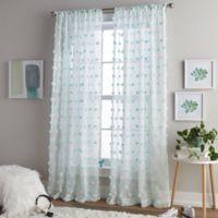 Pom Pom 84-Inch Rod Pocket Window Curtain Panel in Aqua