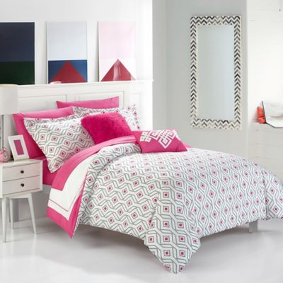 Charming Chic Home Jejomar 7 Piece Reversible Twin Comforter Set In Fuchsia