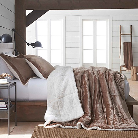 Vellux Plush Sherpa Reversible Comforter Set Bed Bath