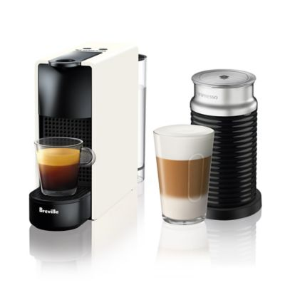 Nespresso By Breville Essenza Mini Espresso Maker Bundle With Aeroccino Frother In White