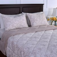 Berkshire Blanket® Floral Lace Reversible King Comforter in Light Grey