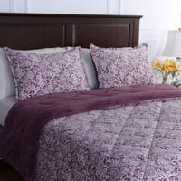 Berkshire Blanket® Floral Lace Reversible Full/Queen Comforter in Purple