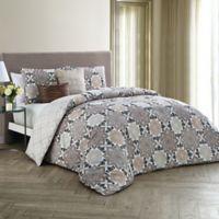 Avondale Manor Greer 5-Piece Reversible Queen Comforter Set in Taupe