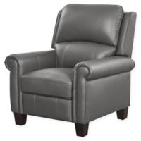 Abbyson Living Shyanne Pushback Leather Recliner in Grey