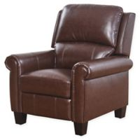 Abbyson Living Shyanne Pushback Leather Recliner in Brown