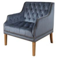 Abbyson Living Neena Velvet Armchair in Smoke Blue