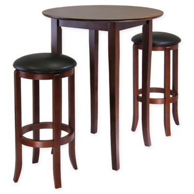 Fiona 3 Piece High Table Dining Set In Antique Walnut