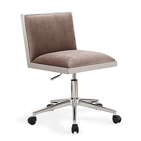 TOV Furniture Harper Velvet Office Chair In Silver