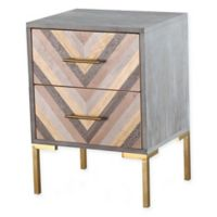 TOV Furniture Quinn Nightstand in Grey/Gold
