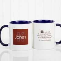 34 Quotes 11 oz. Personalized Coffee Mug in White/Blue