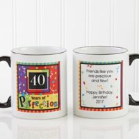 Aged to Perfection Birthday 11 oz. Personalized Coffee Mug in White/Black